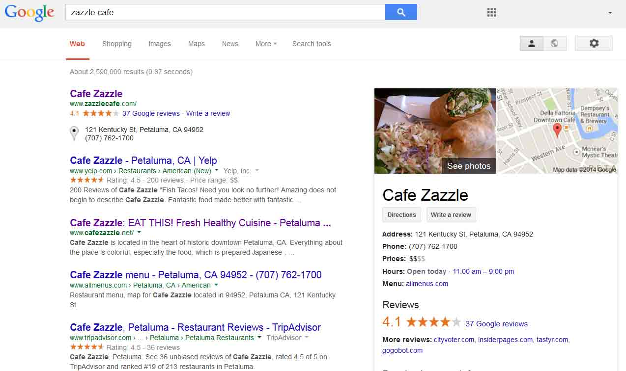 Google Search for Cafe Zazzle